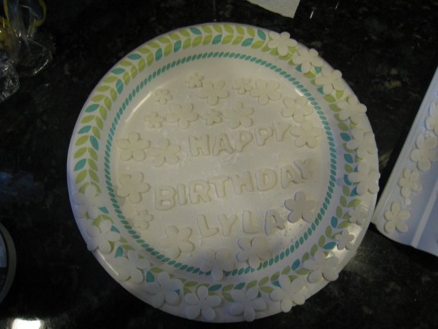 Flowers and Birthday Message on Plate